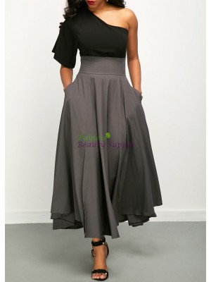 One Shoulder Top and Front Slit Belted Skirt