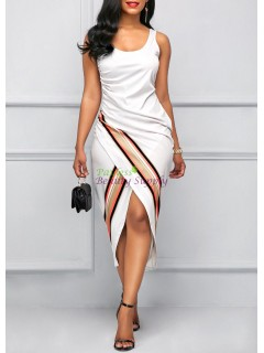 Scoop Neck Sleeveless White Sheath Dress