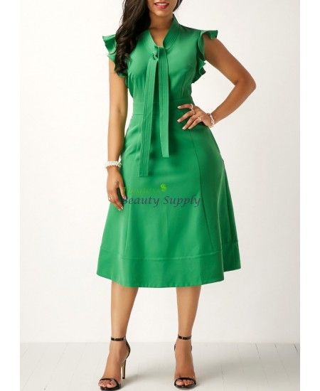 Green High Waist Tie Neck Pocket Dress