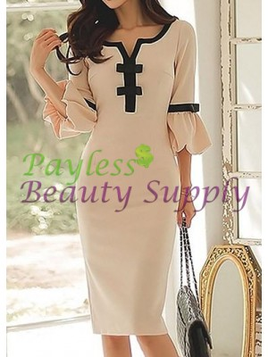 Split Neck Flare Sleeve Bowknot Embellished Beige Dress