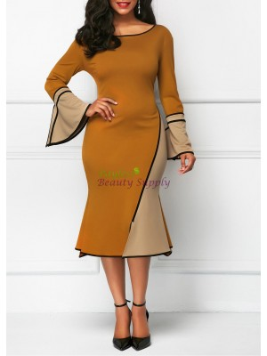 Round Neck Flare Sleeve Patchwork Dress