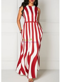 Vertical Stripe Print Sleeveless Pocket Maxi Dress