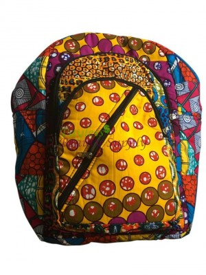 Ankara African Print Backpack Book Bag Handmade Rucksack Mixed African fabric