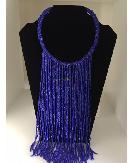 African Beads Necklace Blue