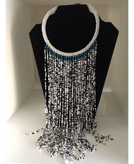 African Black And White Beads Necklace