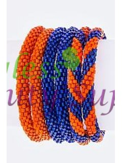 Blue & Orange Nepal Roll Up Bracelets Set