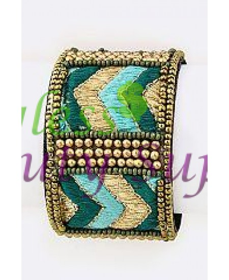 Gold Beads Embroidered Adjustable Cuff