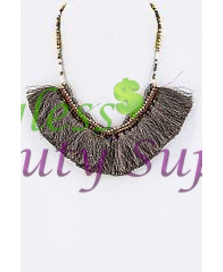 Mix Beads & Tassels Statement Necklace
