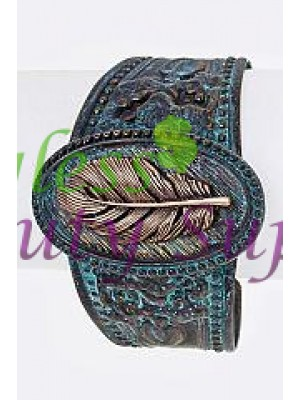 Feather & Embossed Metal Cuff