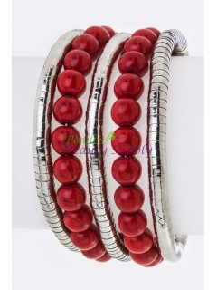 Silver And Red Bracelet