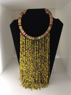 African YellowAnd Black Beads Necklace