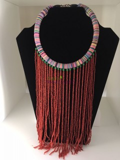 African Beads Necklace Red