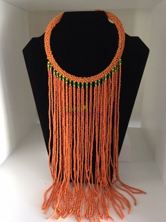 African Orange Beads Necklace