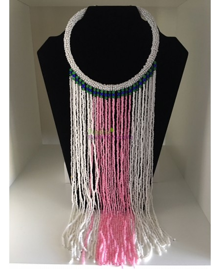 African Pink And White Beads Necklace