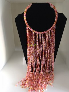 African PinkMixed Beads Necklace