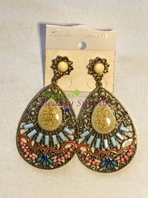 Antique gold and With Tear drop design earring