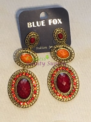 Antique Gold colour with crystal red and orange