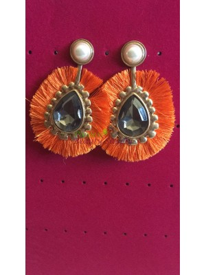 Orange Thread Earring